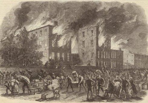 orphan Asylum on 5th avenue burning