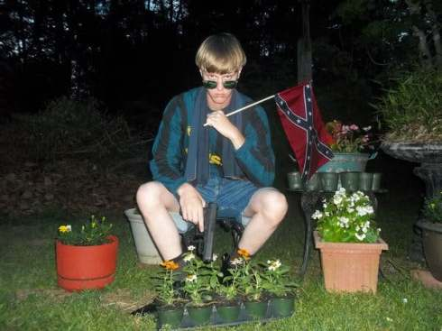 Terrorist dylan with flag and gun