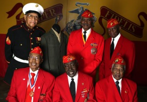 (Front row to back row, L to R) Edsel Stallings, 87, William Cook 86, Earl Hood 90, Norfelette Mersier 87, who is wearing a current era Marine dress blues not one from World War II, Calvin Moore 89 and Robert Hassler 86 pose for a portrait. Between 200 and 300 members of the Montford Point Marines are still alive that served their country.They were the first Marines who were Black to go through a segregated bootcamp at Montford Point between 1942 and 1949 before many were sent to serve and fight in the South Pacific.  In Washington DC the Congress is working at approving a Congressional Gold Medal for the 20,000 Marines who went through bootcamp there. Photographed at the Montford Point Detachment of Marine Corps League in Detroit on Friday, October 28, 2011  ERIC SEALS/Detroit Free Press
