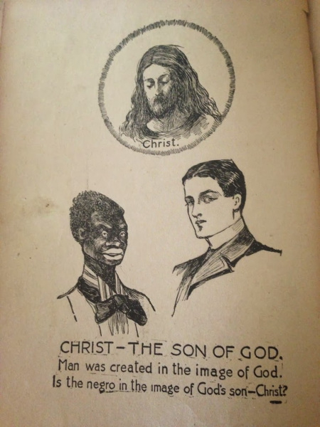 racist Christian drawing of fake Jesus