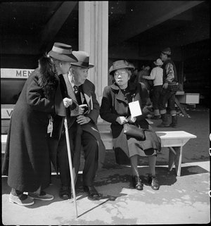 San Bruno, Caliofnira. These older evacuees of Japanese ancestry have just been registered and are . . .