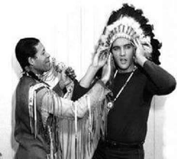 Elvis with Native American headdress
