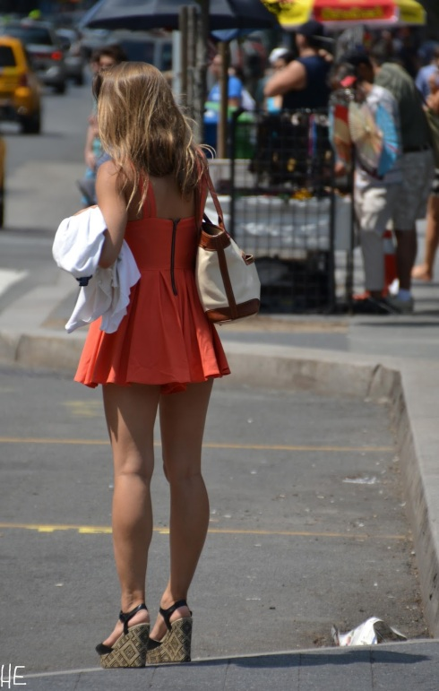 orange-short-dress-strap-wedges-union-square-nyc-street-style