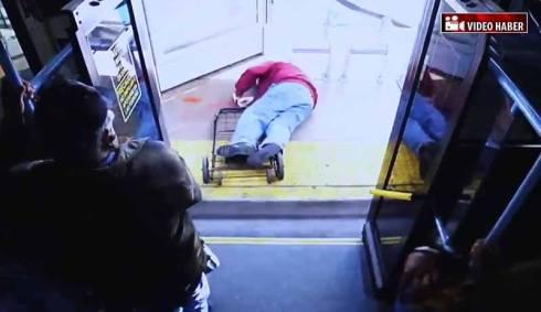 man pushed off bus
