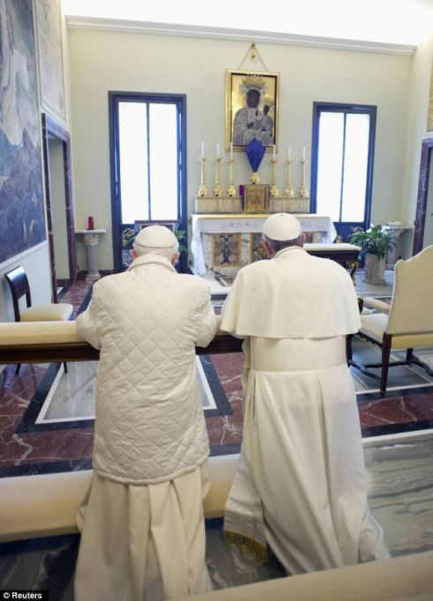 ................. #1 Popes Francis and Benedict bowing before painting of black madonna and child